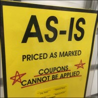 As-Is Purchase Notice Slatwall Hooked
