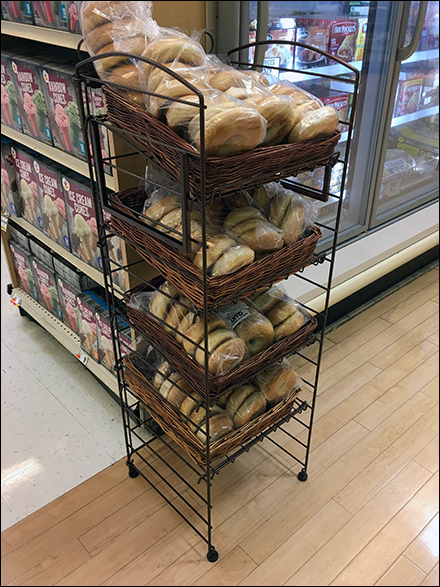 Wicker-Tray-Outfitted Bagel Rack Display