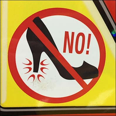 Chuck E Cheese No-High-Heels Safety Warning