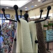 Ball-Finial Coat Rack Scarf Display