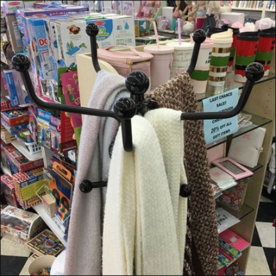 Ball-Finial Coat Rack Scarf Display