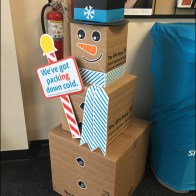 UPS Shipping-Box-Snowman Packing Down Cold