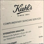 Kiehl's Cosmetics Complimentary Skincare Menu