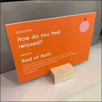 Experiential Bed-of-Nails Natural Wood Sign Holder