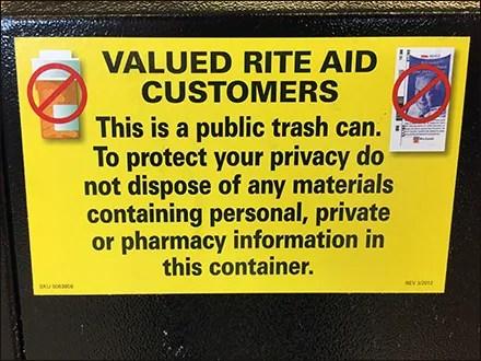 Valued-Customer Trash Privacy Warning
