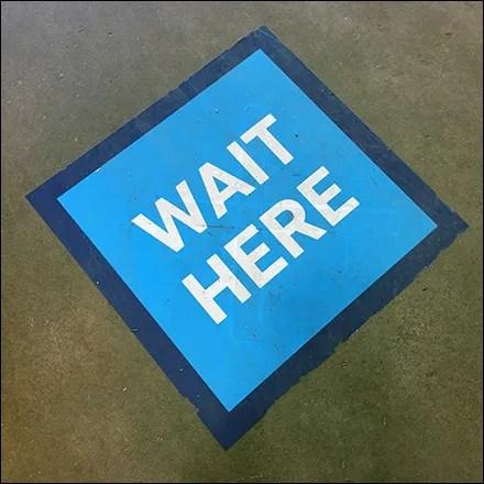 CoronaVirus Social Distancing Wait-Here Blue Floor Graphic