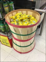 Lemon-Juice Wicker Basket Display