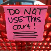 Do-Not-Use Shopping Cart Post-It Note