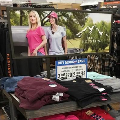 Trestle-Table T-Shirt Display Cascade