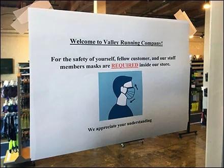 Valley Running CoronaVirus Mask Required