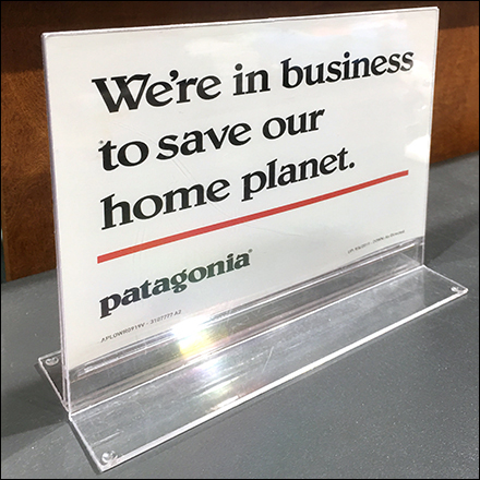 Patagonia Save-The-Planet Acrylic Sign Holder