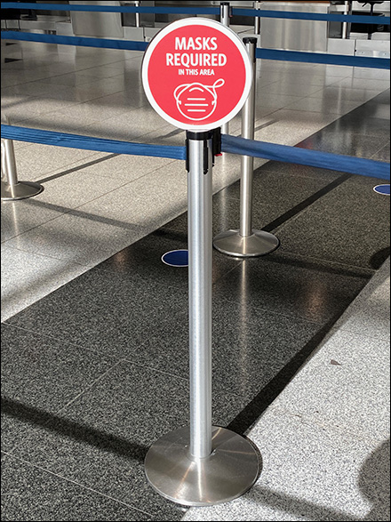 CoronaVirus Wait-Queue Stanchion Masks-Required Flags
