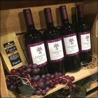 Wood-Crate-Staged Red Wine Display