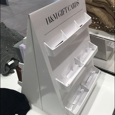 H&M Gift-Card Cardboard Display Details