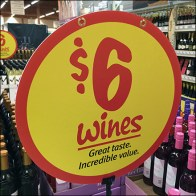 $6 Wines Merchandising Spotlight Sign