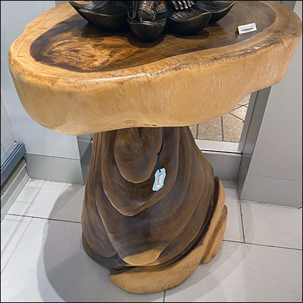 Hand-Carved Tree-Trunk Table Staging