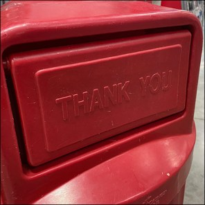 Costco Trash Can Says Thanks