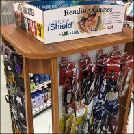 Eyewear Wood Spinner Display in GroceryEyewear Wood Spinner Display in Grocery