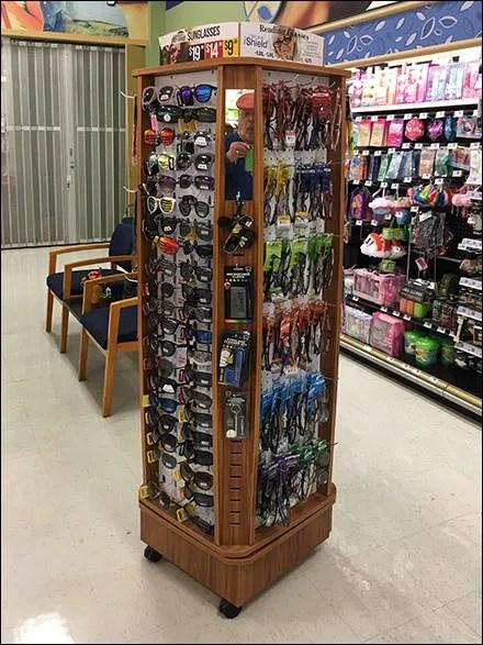 Eyewear Wood Spinner Display in Grocery