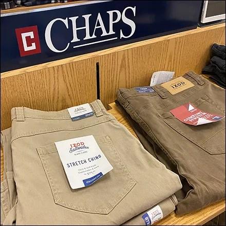 Chaps Chino Slacks Shelf Display