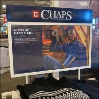 Chaps Twin-Upright Table-Top Sign