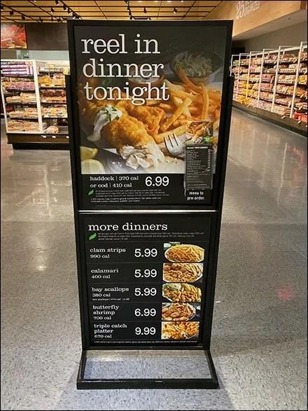 Reel-In-Dinner Seafood Floor Sign