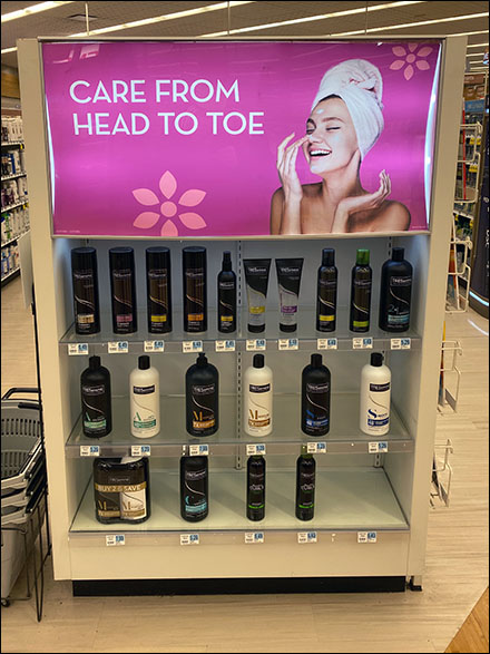 Head-to-Toe-Care Rectilinear Endcap Display