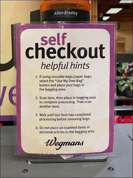 Self-Checkout Helpful Hints List Itemized