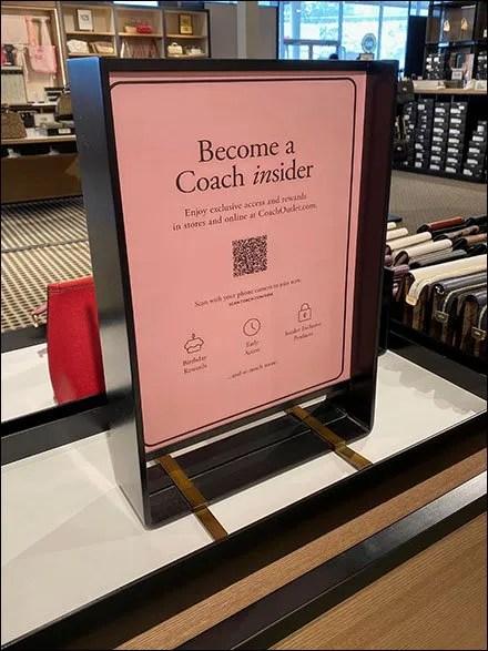 Coach Become-An-Insider QR-Code Sign