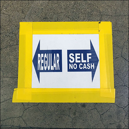 Regular or Self-Checkout Choices Floor Graphic