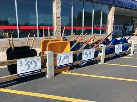 Lowes Parking-Lot Wheelbarrow Lineup Display