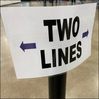 Passing-Encouraged Two-Lines Queue Sign