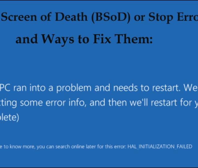 Fix Bsod Or Sop Error