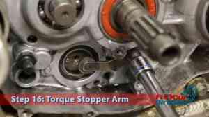 Honda CR250 External Shift Linkage Step 16: Torque Stopper Arm