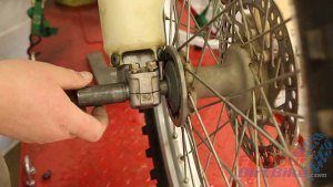 Step 8 - Align your wheel hub with the fork and install the axle.