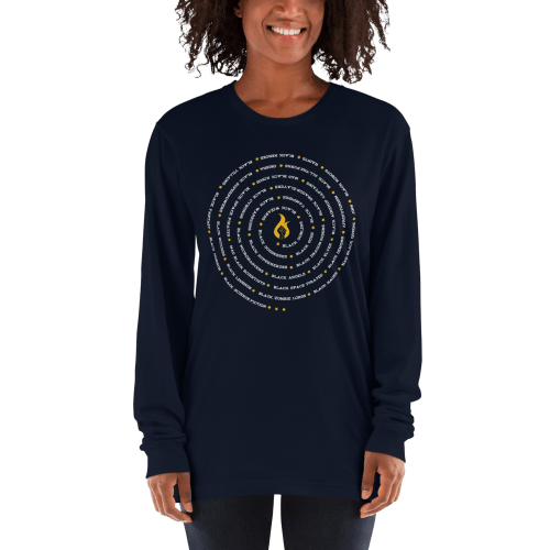 all black everything spiral long sleeve shirt- navy blue