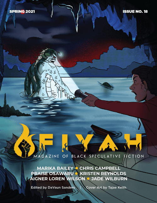 FIYAH 18 cover art featuring black girl shining a flashlight on a lagoon monster in a cave