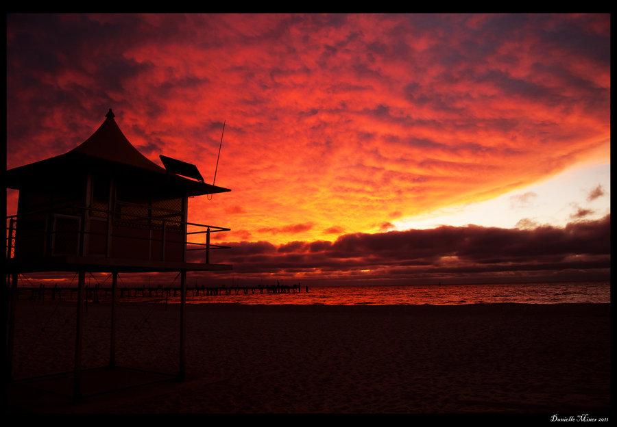 Taken in Glenelg Beach South Australia of the sunset