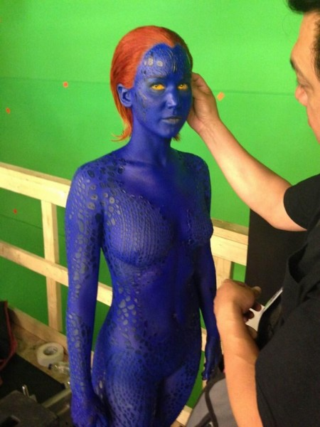 Jennifer Lawrence in Full Mystique Makeup