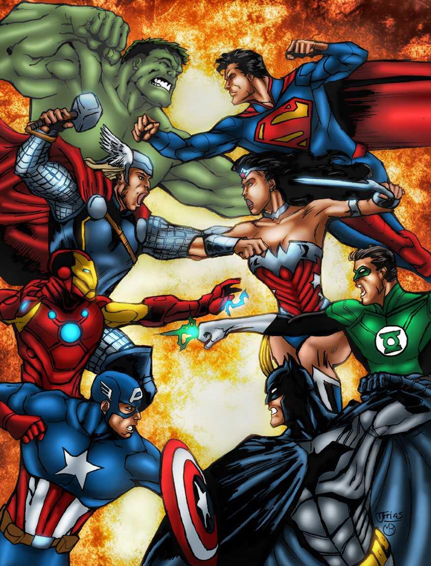 avengers_vs__justice_league_by_marcbourcier-d50koj3