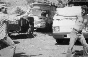 Steven Spielberg and George Lucas on TEMPLE OF DOOM Set
