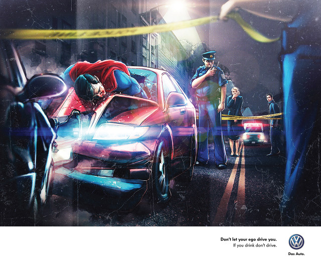 Drunk Superhero Anti-Drunk Driving Volkswagen Ads