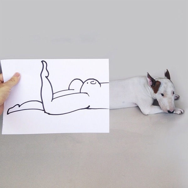 Photographer Inserts Dog Into Real-World Doodles