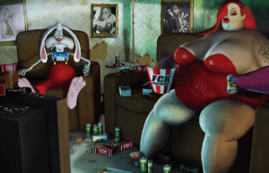 Over-Weight and Out-of-Work Cartoon Characters Animated Short Video
