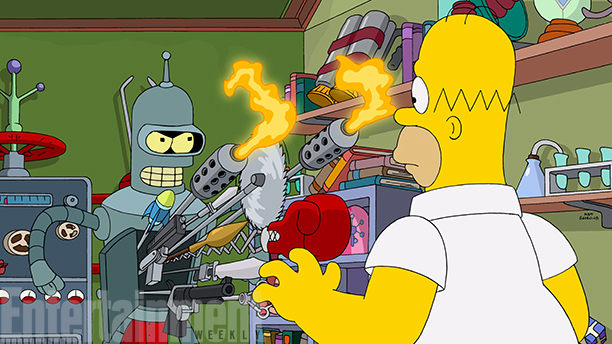 first image from the 'Futurama'-'Simpsons' crossover episode