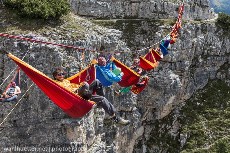 High In The Sky Hammock Party in Dolomites