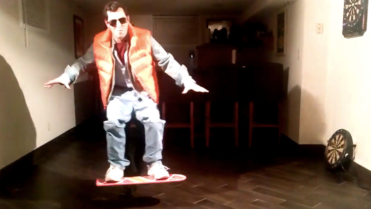 Marty McFly Hoverboard Costume in Action