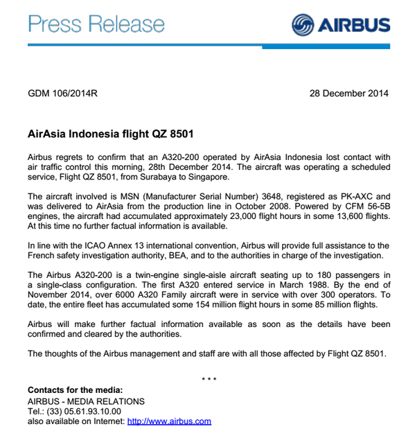 Boeing Press Release For AirAsia Flight QZ8501