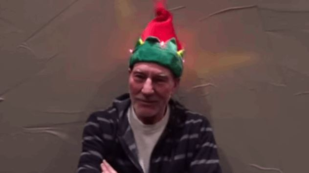 Patrick Stewart Nailed Christmas With Dancing Elf Hat