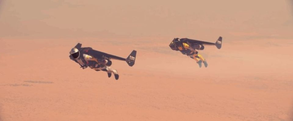 Watch two guys fly in formation with jetpacks
